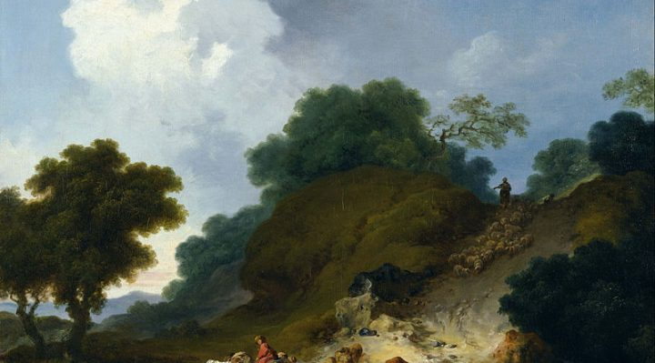 Landscape with Shepherds and Flock of Sheep Jean Honoré Fragonard