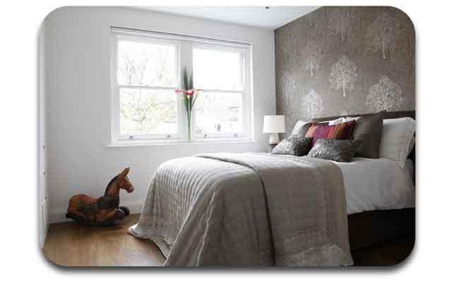 Desain dekorasi furniture dan wallpaper Victorian kontemporer